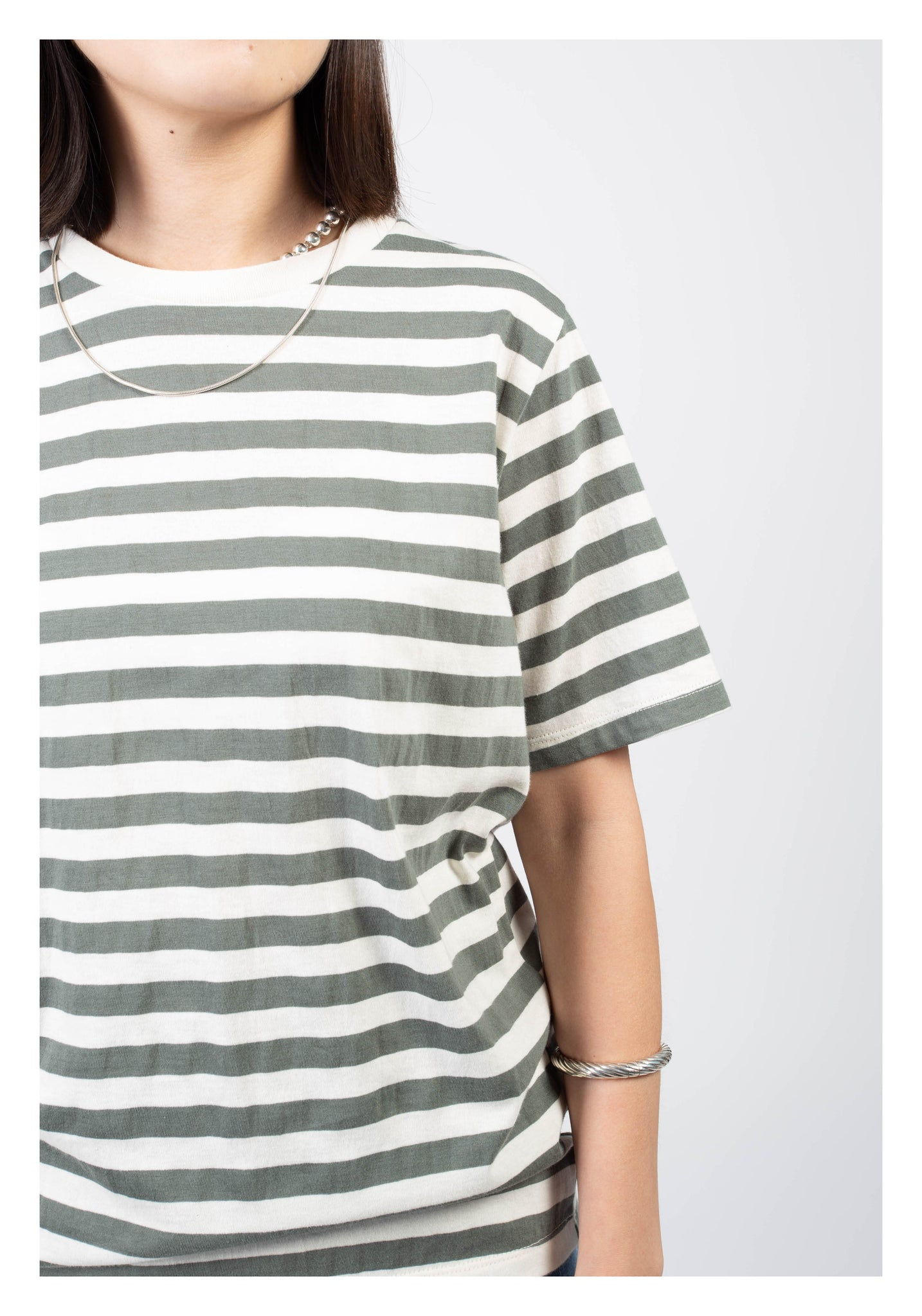 Crew Neck Stripe Tee Oat