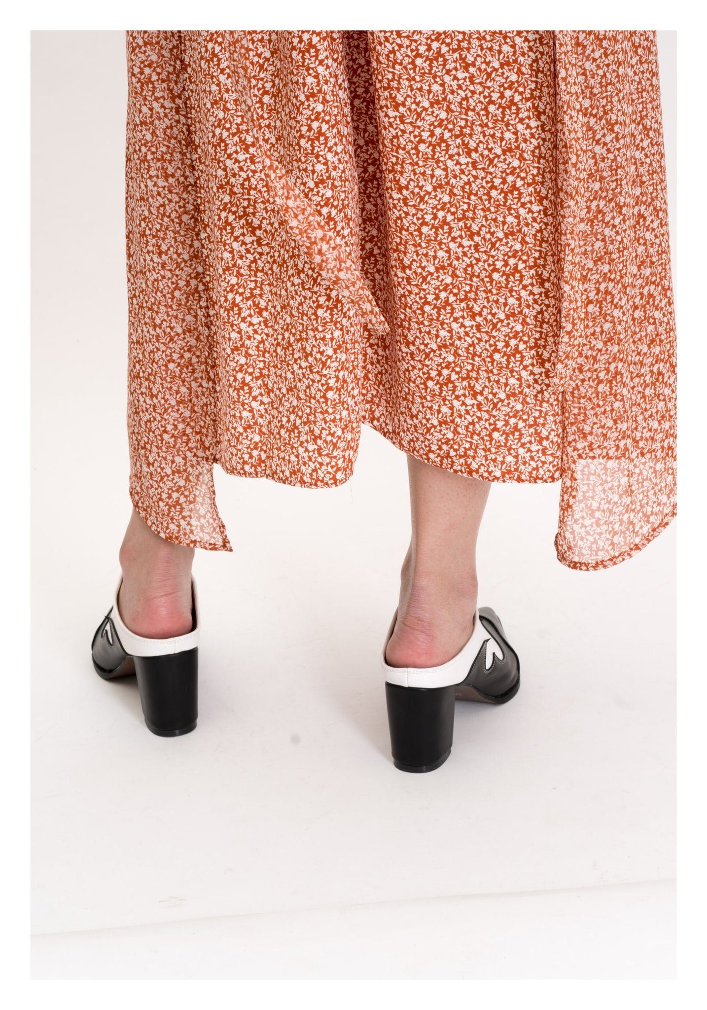 Crew Neck Floral Dress Orange