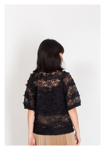 Crew Neck Lace Top Black - whoami