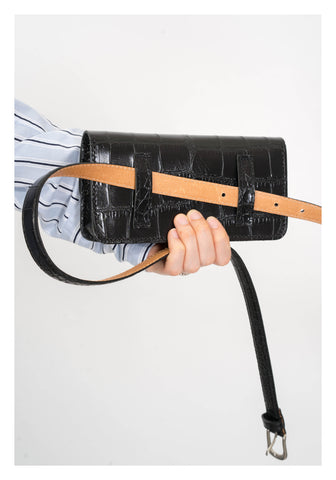 Croc-Effect Leather Belt Bag Black - whoami