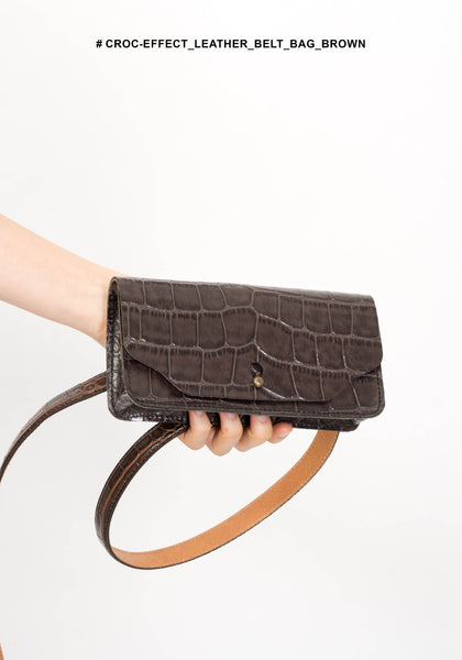Croc-Effect Leather Belt Bag Brown - whoami