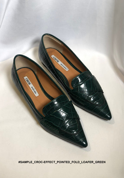 Sample Shoes - Croc-Effect Pointed Fold Loafer Green - whoami