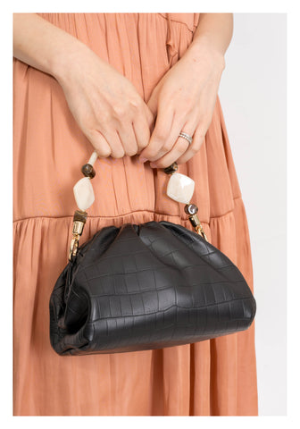 Croc Effect Pouch Cross Body Bag Black - whoami