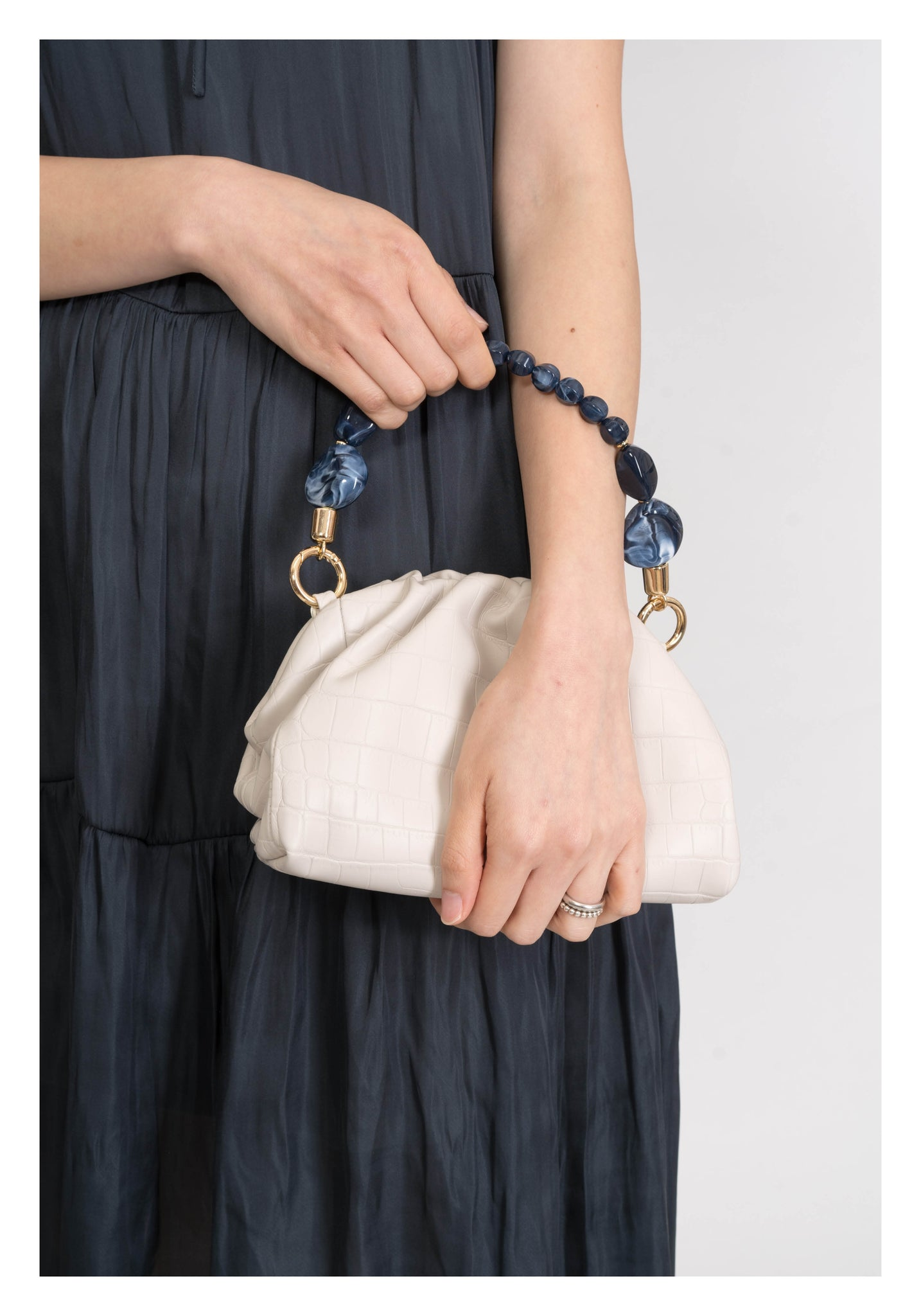 Croc Effect Pouch Cross Body Bag Ivory - whoami