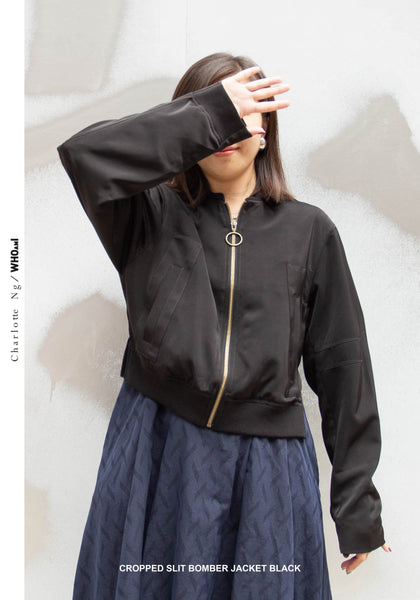 Cropped Slit Bomber Jacket Black - whoami