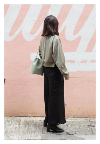 Cropped Slit Bomber Jacket Military Green - whoami