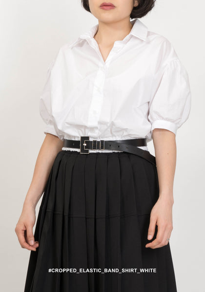 Cropped Elastic Band Shirt White
