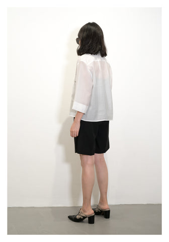 Cropped Front Pockets Shirt White