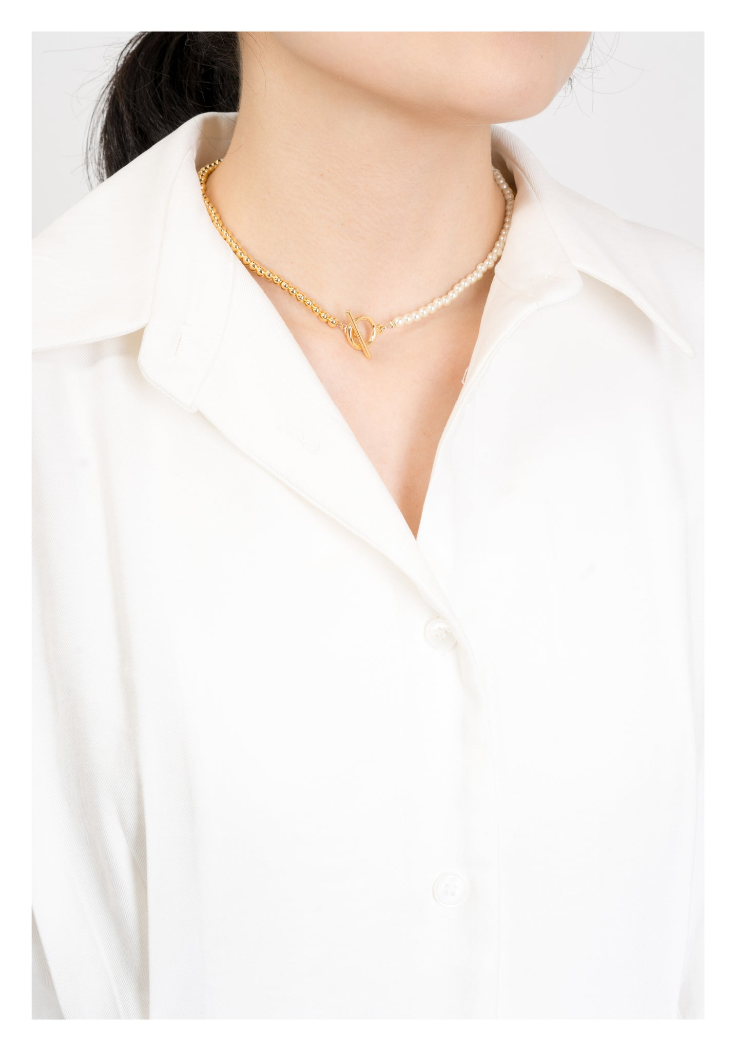 Faux Pearl And Gold Bead Necklace - whoami
