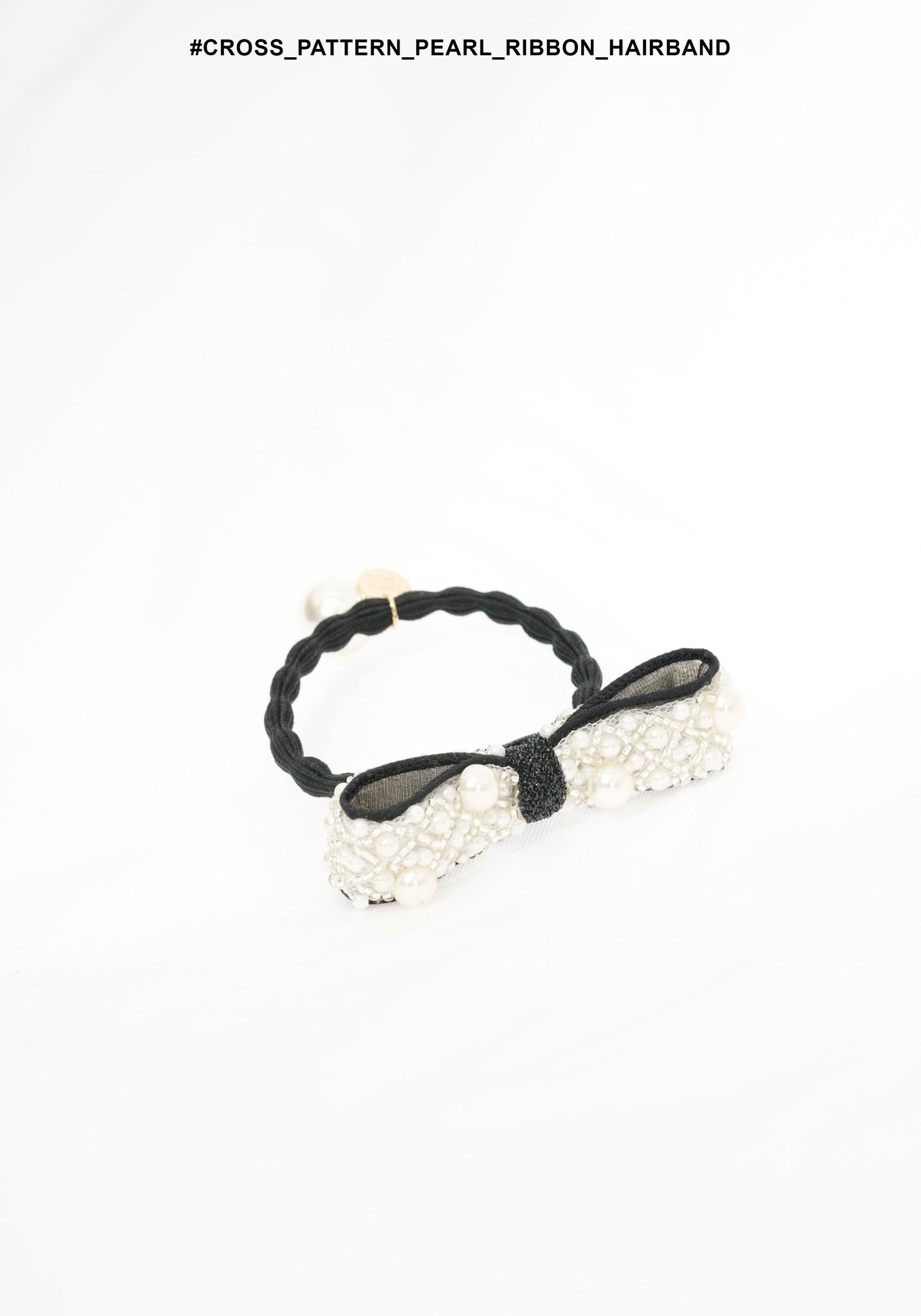 Cross Pattern Pearl Ribbon Hairband - whoami