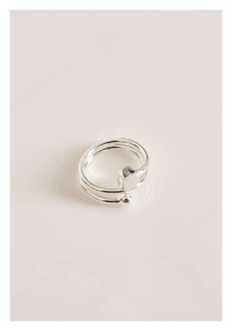925 Silver Cube And Ball Edge Ring - whoami