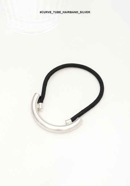 Curve Tube Hairband Silver - whoami