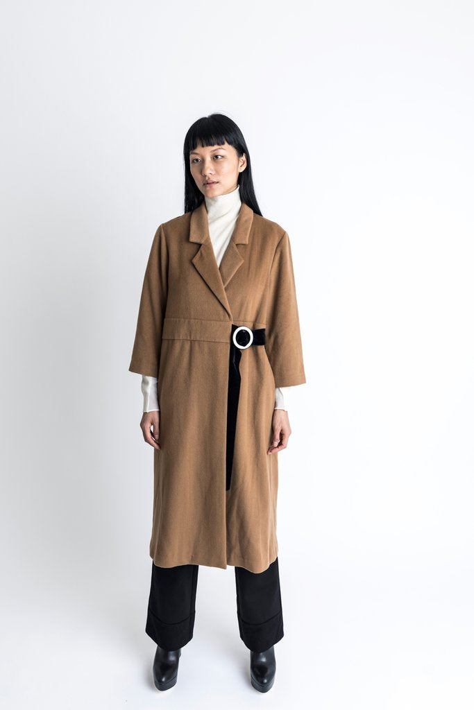 D Ring Wool Cashmere Coat Camel - whoami