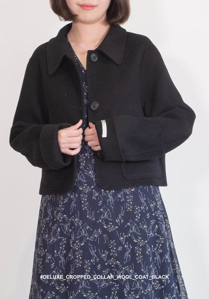 Deluxe Cropped Collar Wool Coat Black
