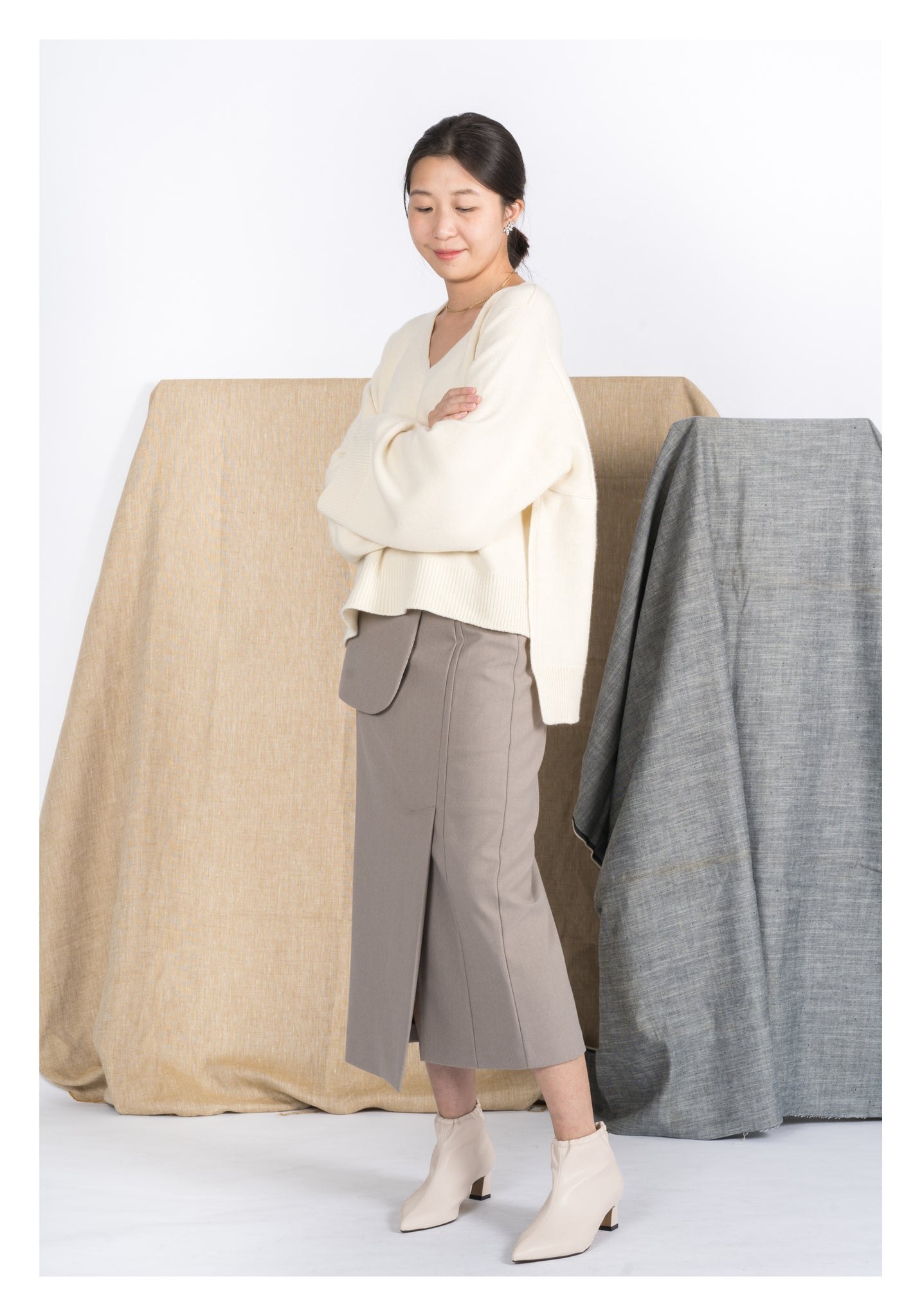 Deluxe Wholegarment Cashmere Knit Top Ivory