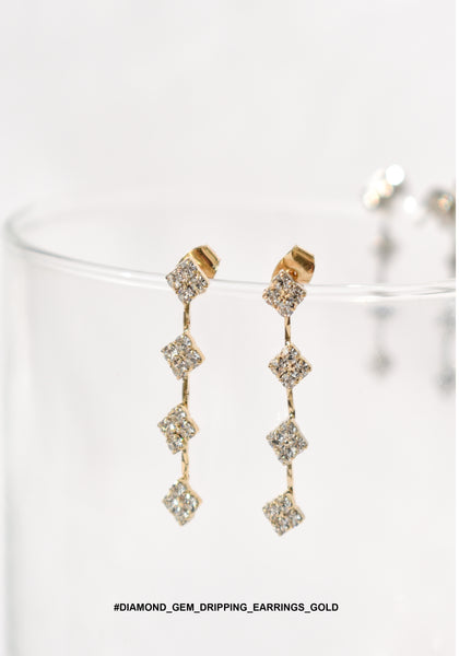 Diamond Gem Dripping Earrings Gold - whoami