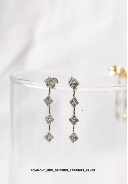 Diamond Gem Dripping Earrings Silver - whoami