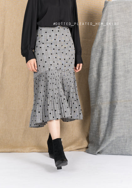 Dotted Pleated Ruffle Skirt Grey