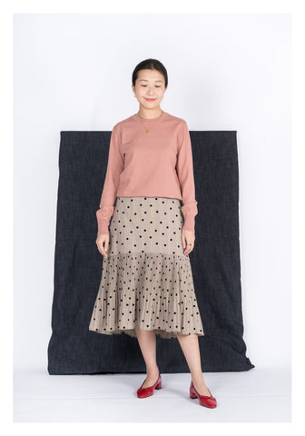 Dotted Pleated Ruffle Skirt Brown