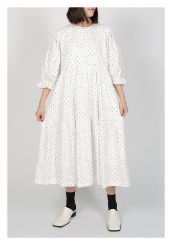 Dot Tiered Dress White