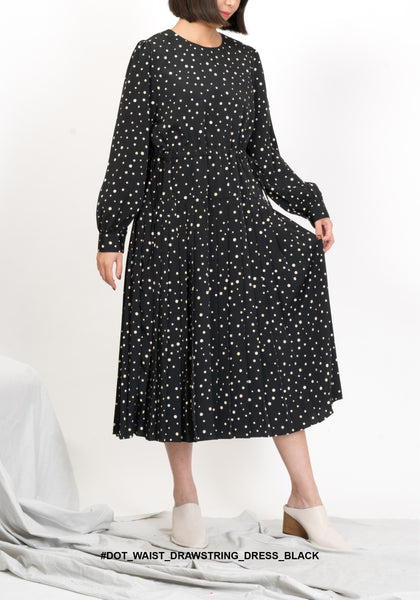 Dot Waist Drawstring Dress Black