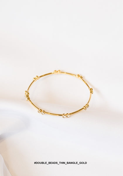 Double Beads Thin Bangle Gold