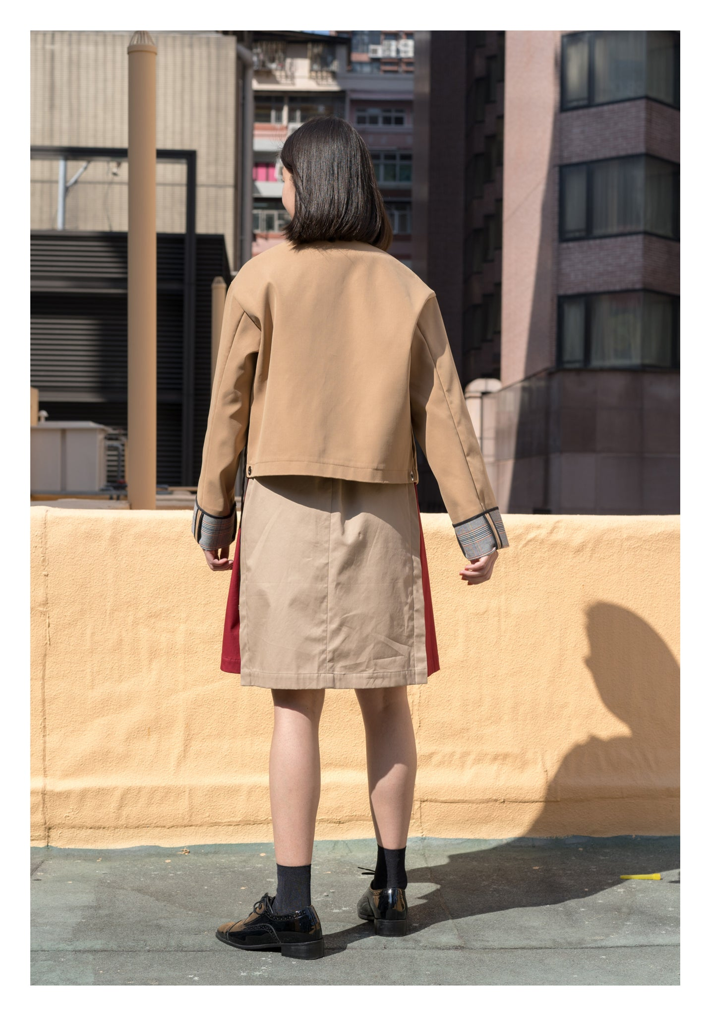 Double Faced Cropped Jacket Khaki - whoami