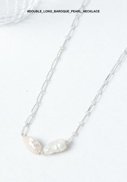 Double Long Baroque Pearl Necklace