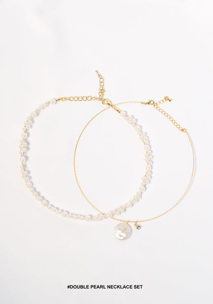Double Pearl Necklace Set - whoami