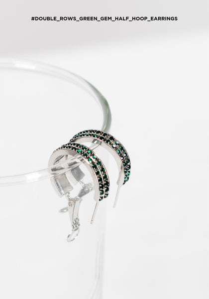 Double Rows Green Gem Half Hoop Earrings - whoami