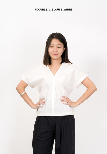 Double V Blouse White