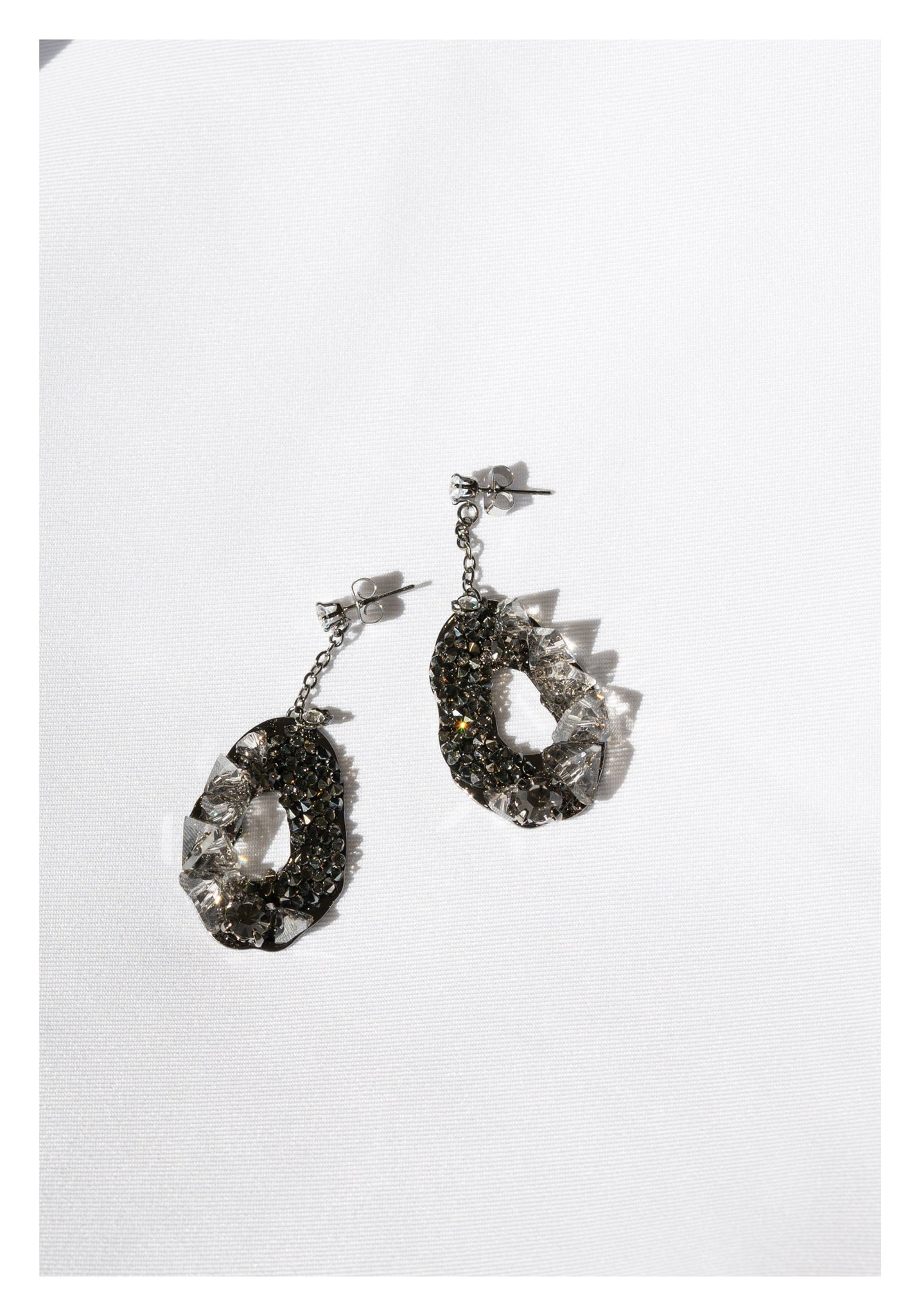 Dripping Organic Raw Gem Earrings Charcoal - whoami