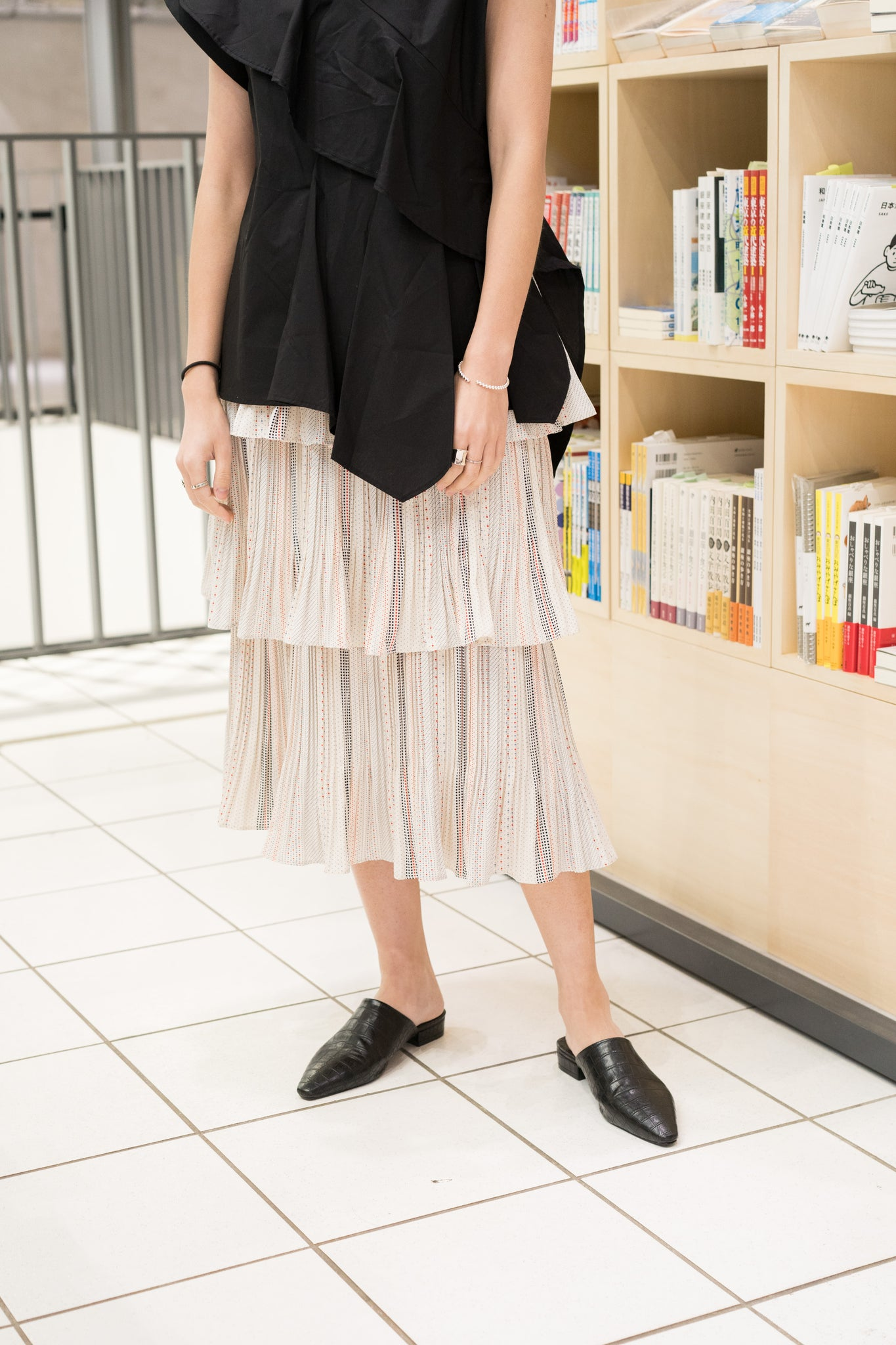 Tiered Dot Pleated Skirt