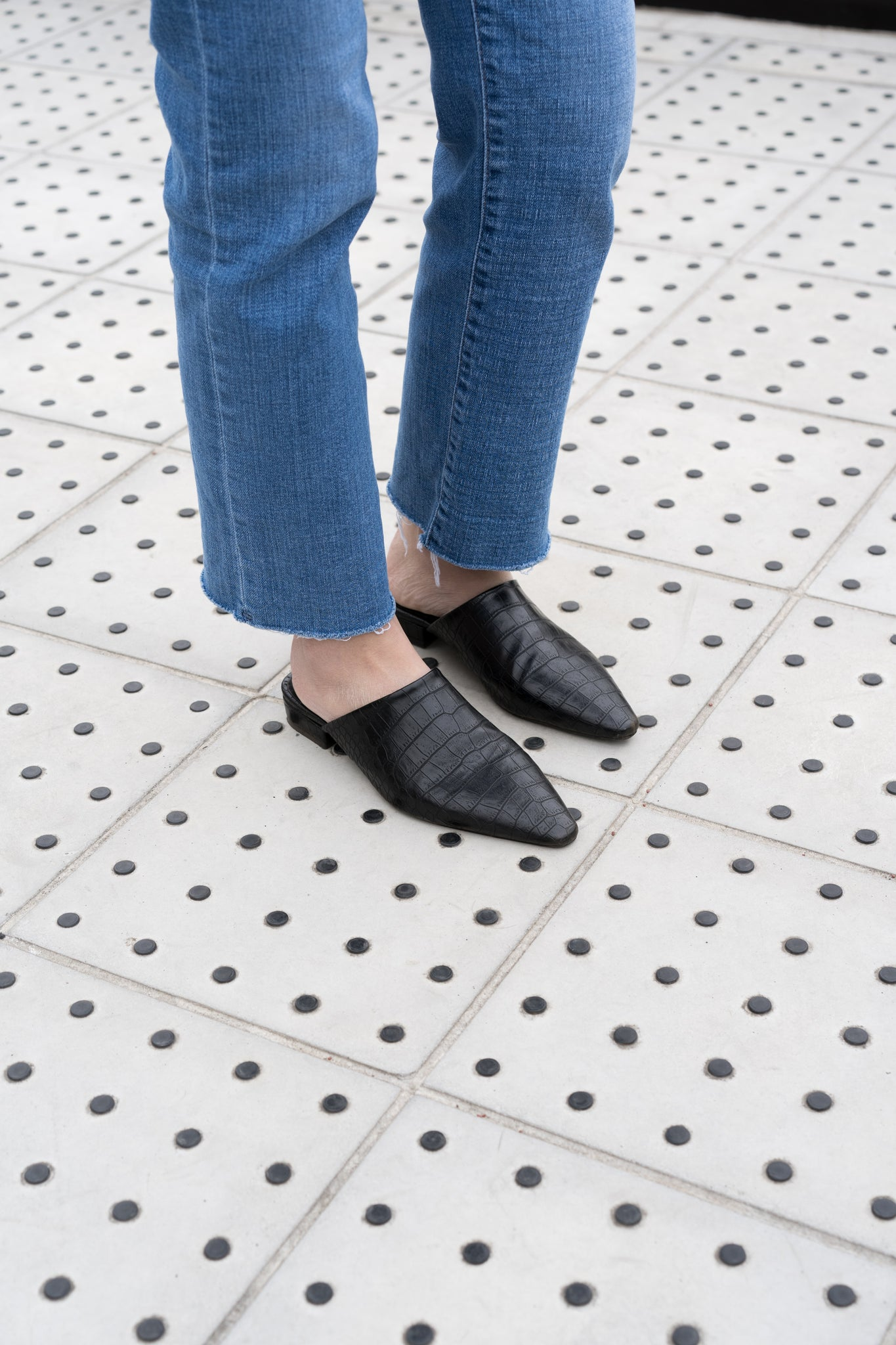 Croc Effect Pointed Mules