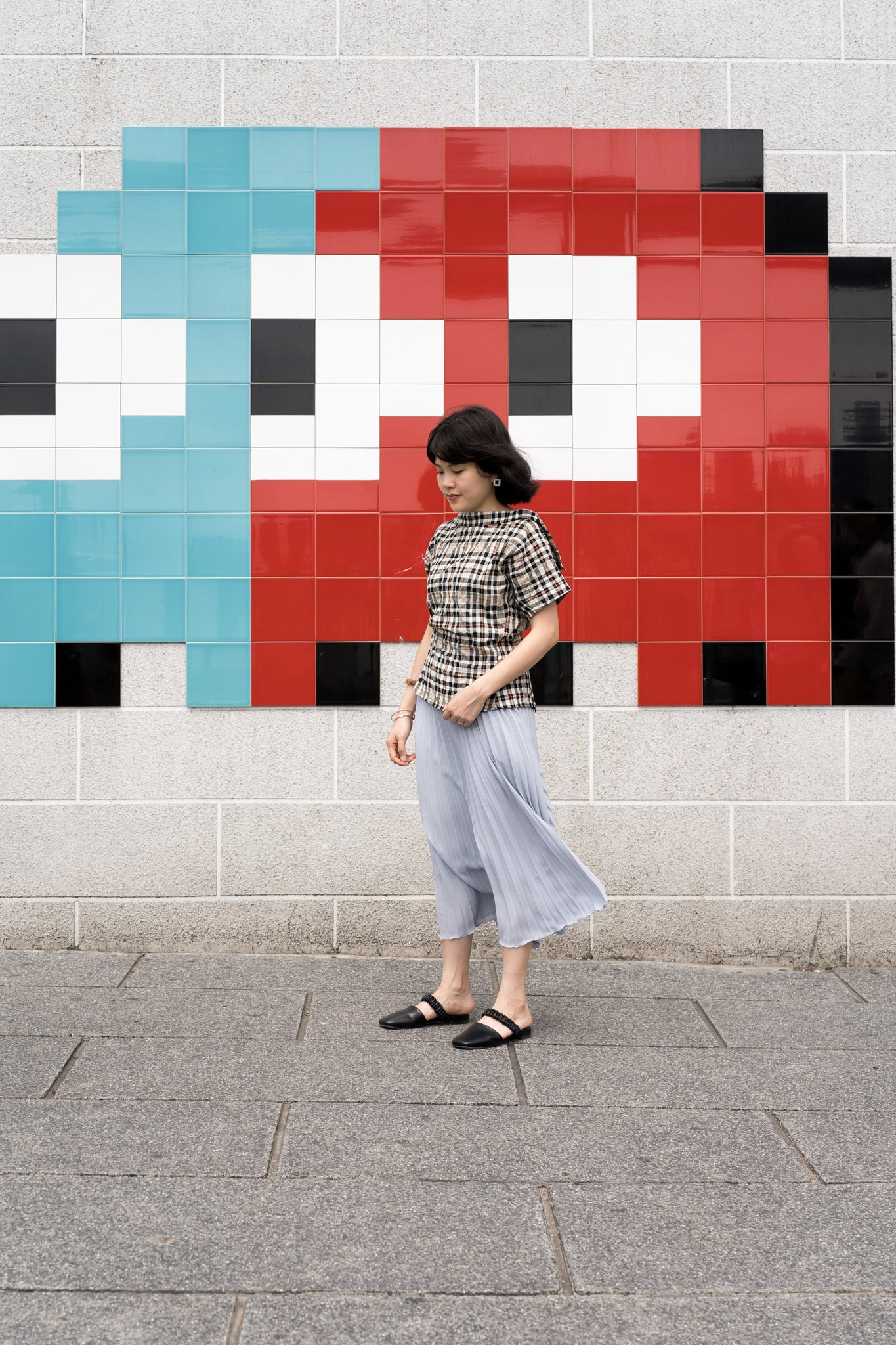 Simple Pleated Skirt Baby Blue