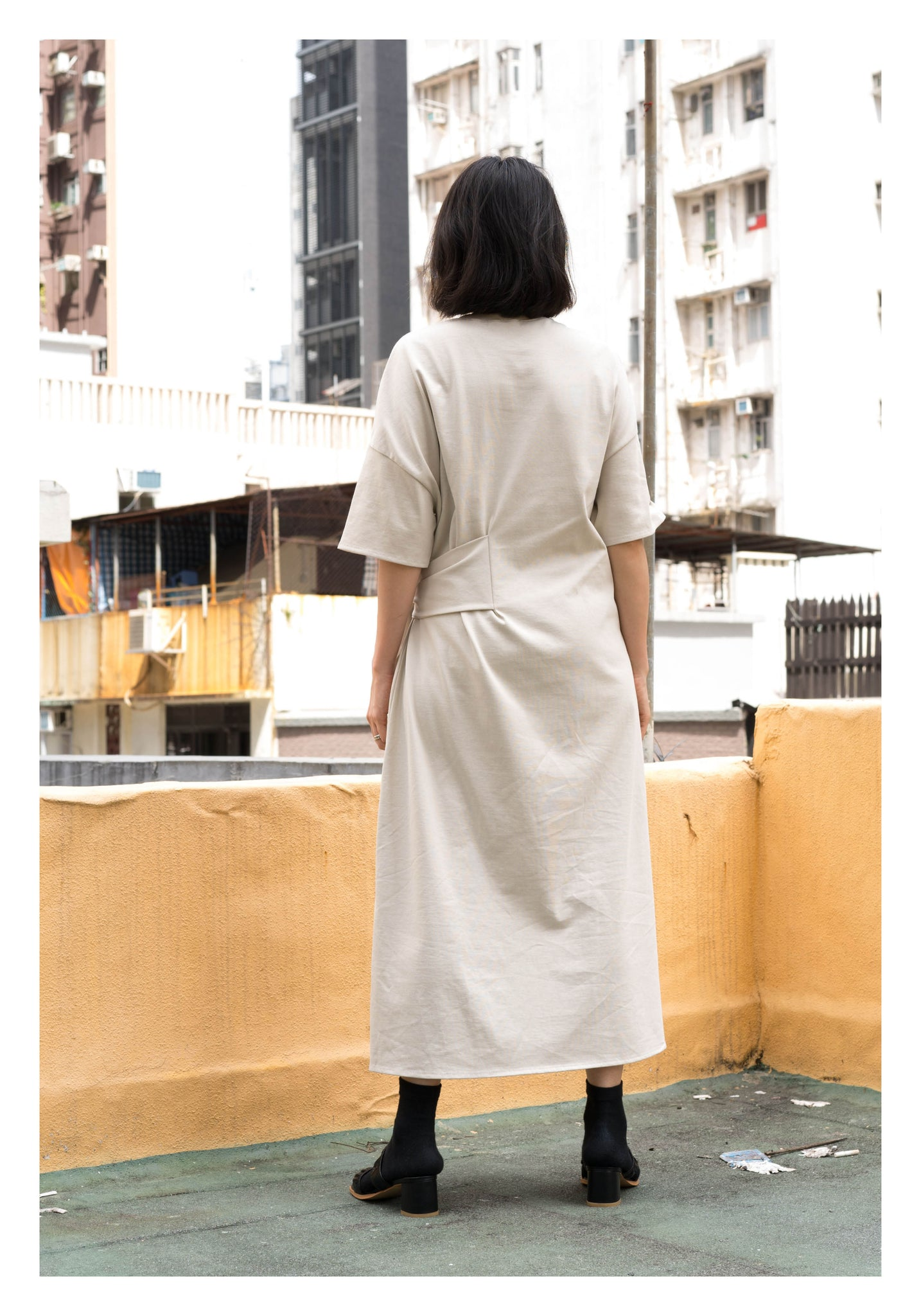 Daily Waist Tie Cotton Dress Ivory - whoami