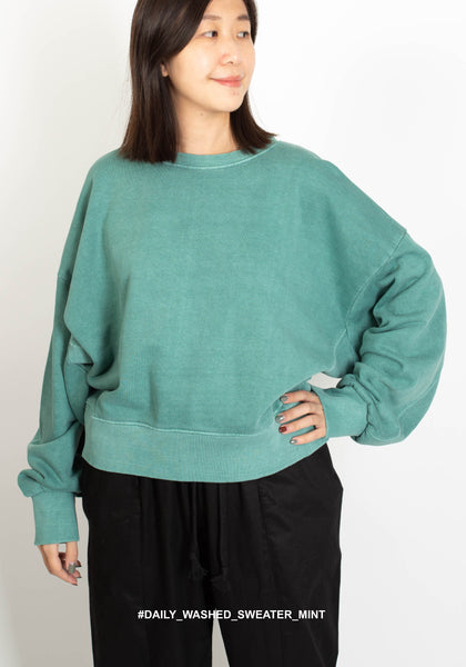 Daily Washed Sweater Mint - whoami