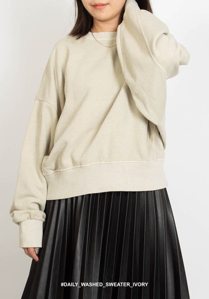 Daily Washed Sweater Ivory - whoami