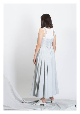 Deluxe Long Thin Strap Pleats Dress Grey - whoami