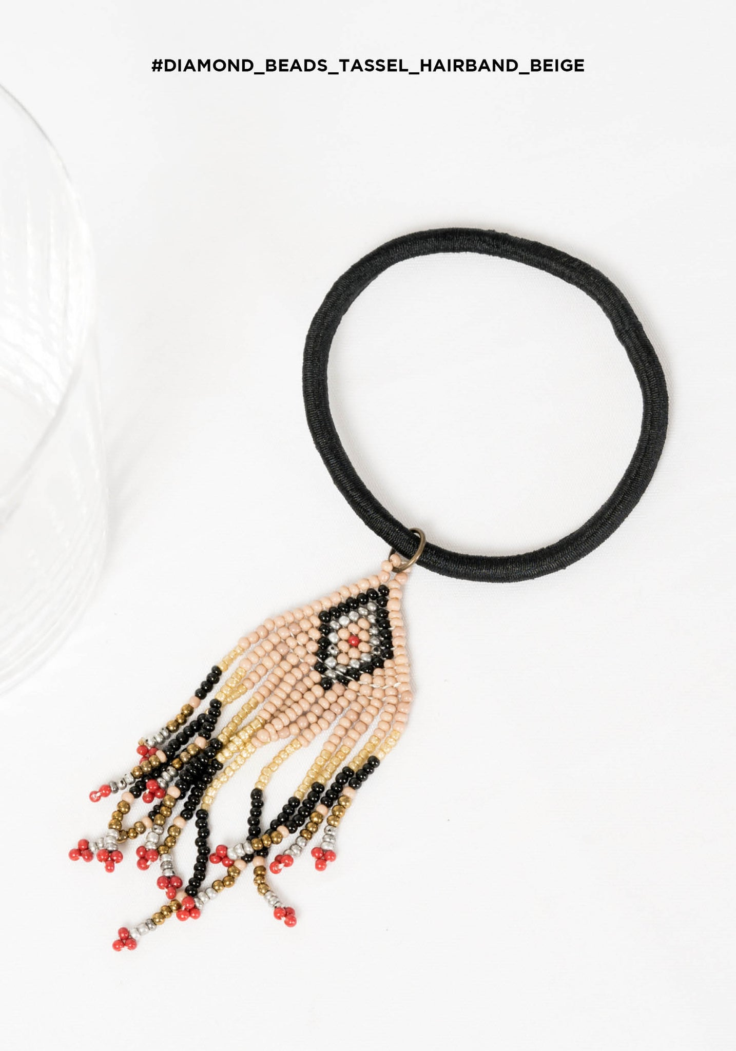 Diamond Beads Tassel Hairband Beige - whoami