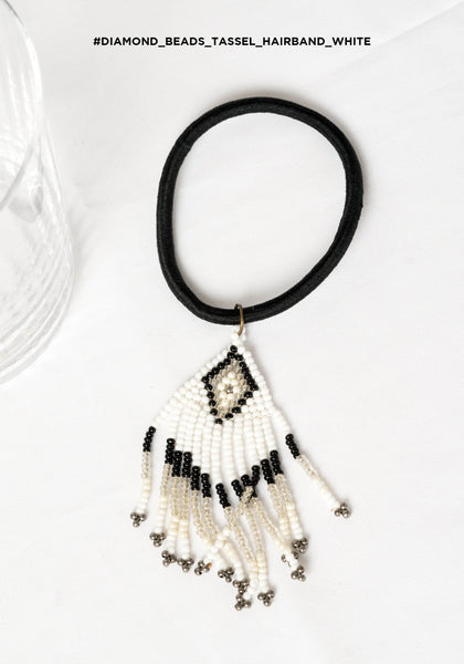 Diamond Beads Tassel Hairband White - whoami