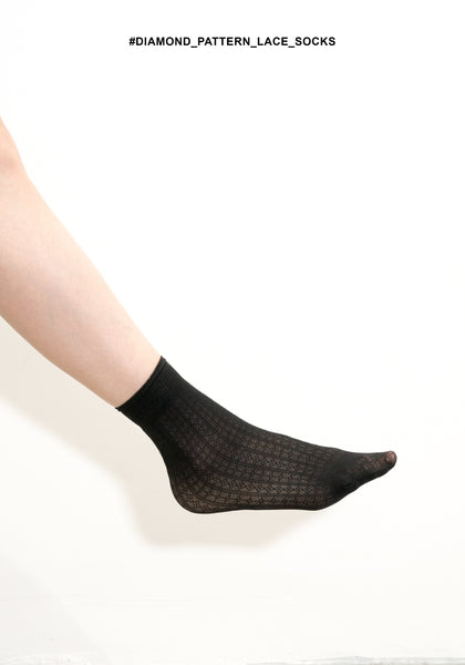 Diamond Pattern Lace Socks - whoami