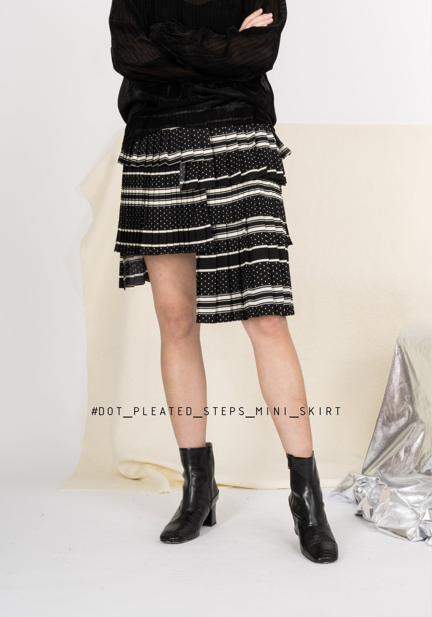 Dot Pleated Steps Mini Skirt - whoami