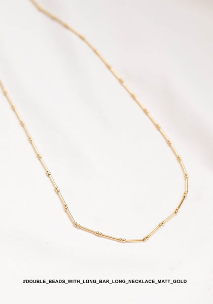 Double Beads With Long Bar Long Necklace Matt Gold - whoami