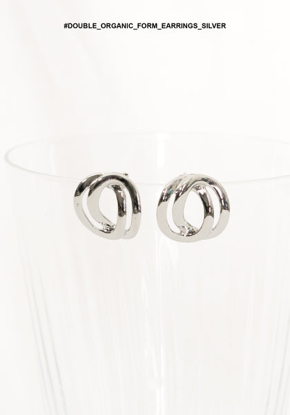 Double Organic Form Earrings Silver - whoami