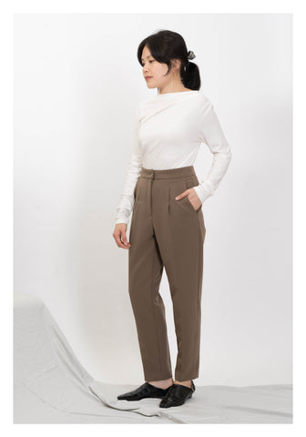 Double Stitch Taper Pants Brown - whoami