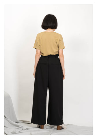 Double Thin Buckle Wide Leg Pants Black