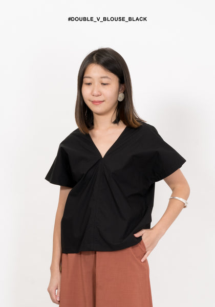 Double V Blouse Black