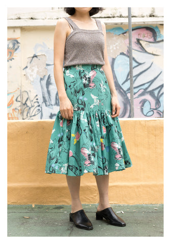 Drawing Floral Skirt Green
