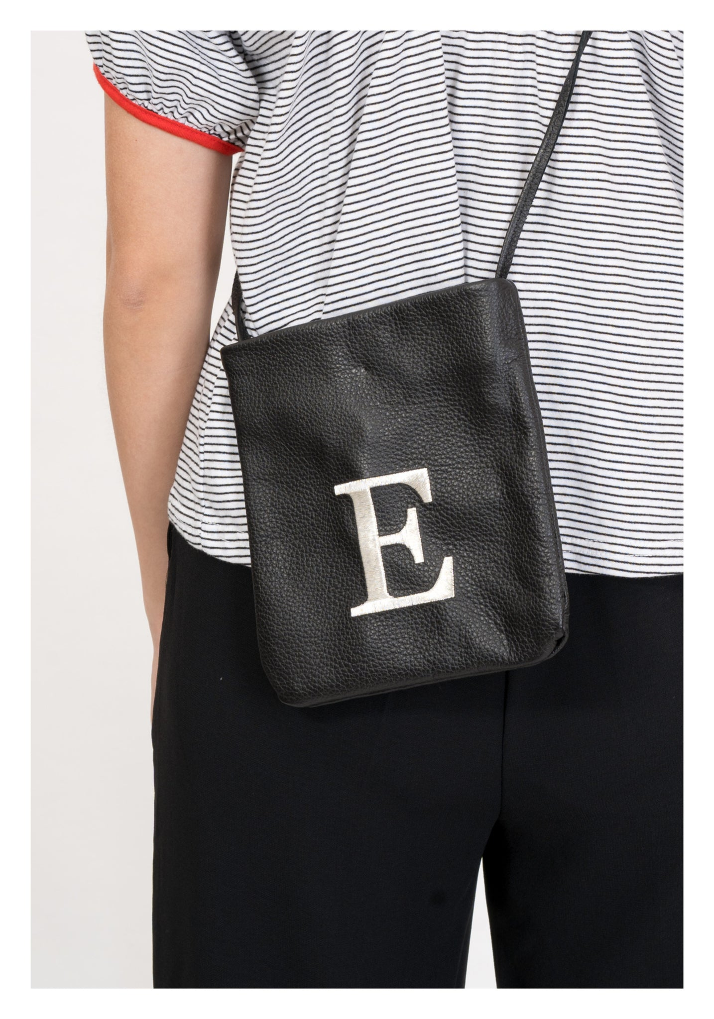 Embroidered Alphabet Leather Mini Bag E - whoami